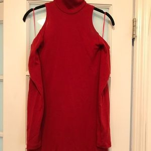 Balmain Turtleneck Dress with Cut Out Shoulders